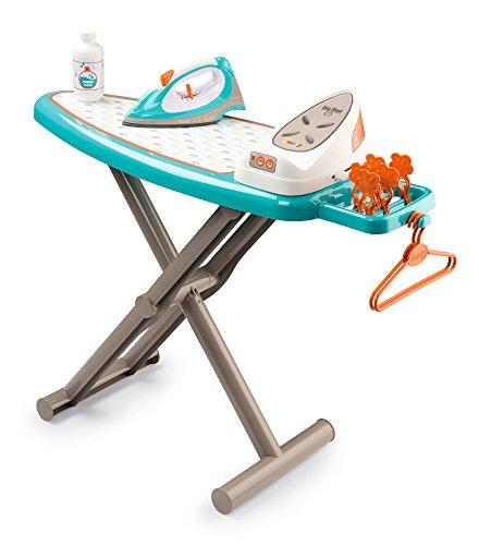 Smoby 7600330118 Bügelbrett für Kinder mit Bügeleisen, Dampfstation, Wäscheklammern, Soundgeräuschen, klappbar für Jungen und Mädchen ab 3 Jahren