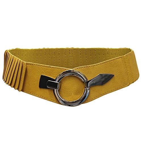 Glamexx24 Damen Taillengürtel Elastischer gürtel 6cm breiter Hüftgürtel silberner Ring Curry