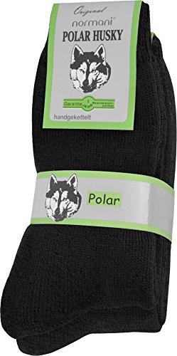 Polar Husky® 6 Paar Nie Wieder Kalte Füße Winter Socken, super dick und sehr warm! Farbe Schwarz Größe 43/46