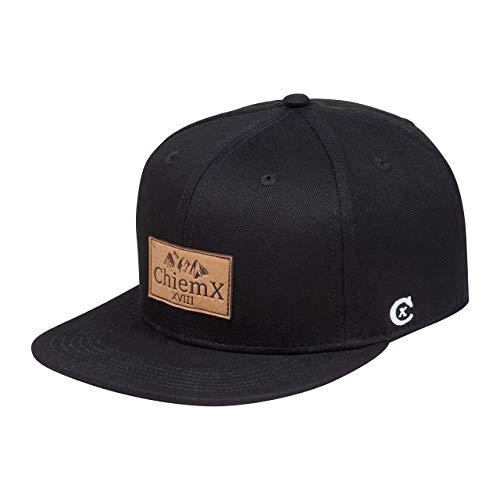 ChiemX Snapback Cap - Schwarz/Dunkelschwarz - aus Baumwolle und mit Kunstlederpatch - One Size Kappe für Herren und Damen