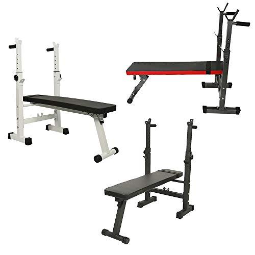 Banco de Musculación Bancos de pesas ajustables con soporte de barra, Carga 150 kg, máx. 112×58,5×104 cm (Blanco-negro)