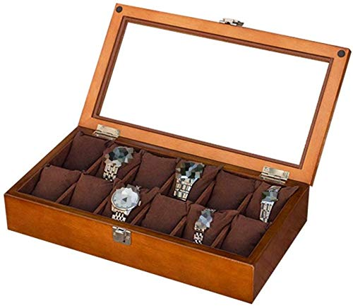 ZXF5 12 Grid Watch Case Wooden Watch Storage Box for Men/Women with Glass Lid/Lock Wristwatches Jewelry Collection Display Storage Case Watches Accessories,Brown