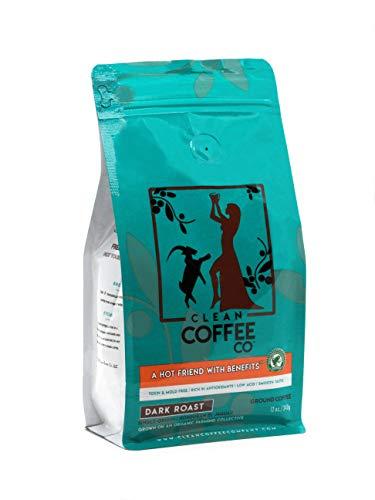 Clean Coffee Co Honduran El Jaguar, Dark Roast Ground Coffee, 12 Ounce Bag, Single-Origin, Toxin-Free, Rich In Antioxidants, Low Acid, Smooth Taste