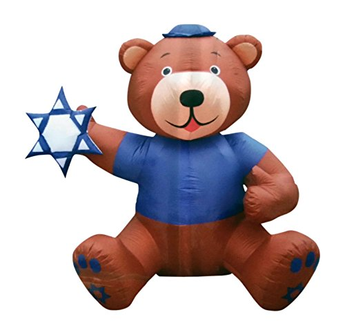 AIR CHARACTERS 6 1/2' Hanukkah Brown Bear Holding Star of David