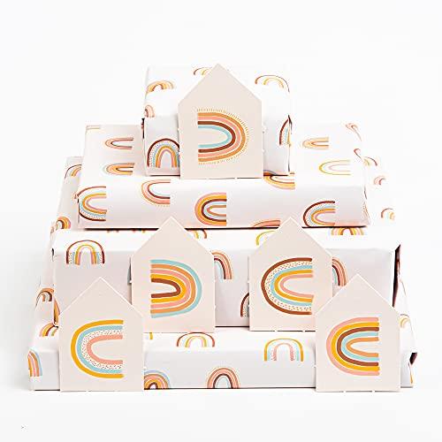 Central 23-6 hojas de papel de regalo - Arcoíris en colores pastel - Papel de regalo de cumpleaños para mujeres, niñas y niños - Eco y fabricado en el Reino Unido