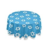 ALAZA Lace Tablecloth, Hipster Jewish Hanukkah Stars Washable Dust-Proof Polyester Table Cover for Kitchen Dinning Tabletop Decoration (Round, 60 Inch)