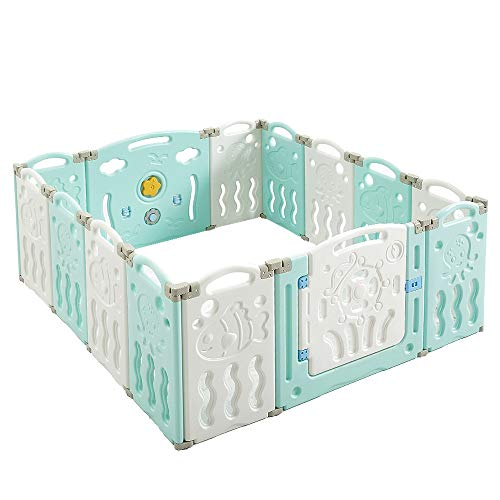 Albott Baby Fence Play Yard Baby Playpen 14 Panels - Kids Safety Play Center Yard Game Panel and Gate with Safety Lock Adjustable Shape for Children Toddlers Indoors or Outdoors 25 Sq Ft(Blue+White)