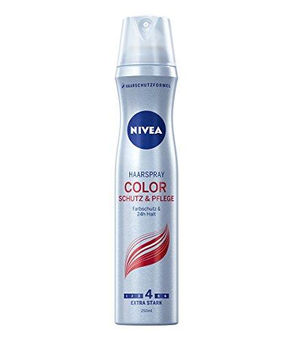NIVEA 4er Pack Haarspray, Extra Stark, 4 x 250 ml Sprühdose, Color, Schutz & Pflege, Farbschutz & 24 Stunden Halt