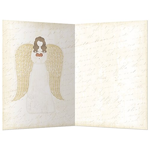 """Tree-Free Greetings ECOnotes Blank Note Cards, Matching Envelopes, Blank Stationary Card Set, 4"""" x 6"""", Christmas Angel, Pack of 12 (FS94009)"""