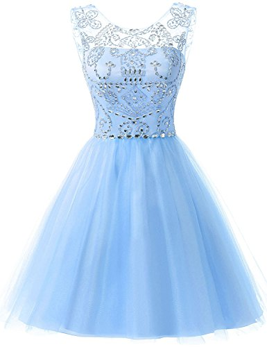 Sarahbridal Juniors Short Tulle Prom Dress Sweet 16 Beading Sequin Homecoming Gowns Light Blue US16