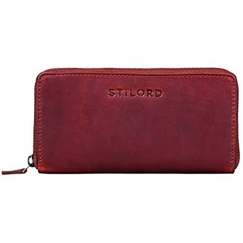 STILORD 'Mila' Klassisches Portemonnaie Damen Geldbörse groß mit Reißverschluss EC-Karten Fächer Quer Leder, Farbe:Rosso
