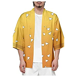 Baycon Men's Demon Slayer Kimetsu no Yaiba Kamado Tanjirou Tomioka Giyuu Robes Cosplay Cardigan Top Jacket