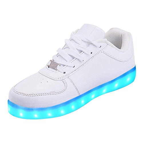 LeKuni Unisex LED Zapatillas (7 Colores ) High Top Niños USB Carga Zapatos Sneakers Zapatos Luminiosos (Blanco, Numeric_32)