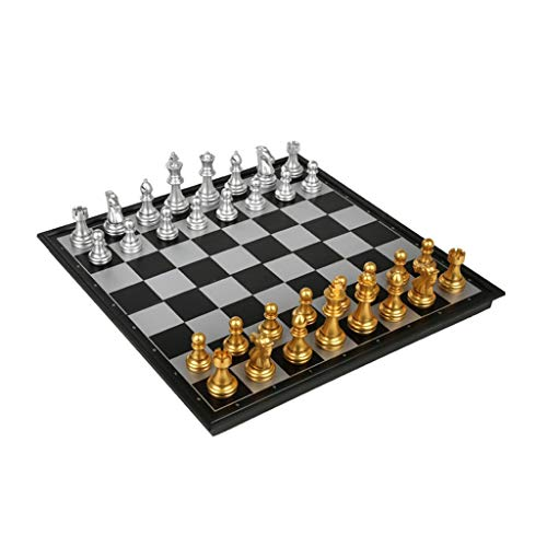Juego de ajedrez plegable de ajedrez con piezas de ajedrez de tablero de ajedrez con imán de ajedrez, juego de ajedrez (color: oro plateado, tamaño: grande)