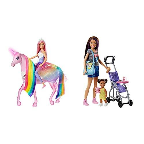 Barbie-FXT26 Barbie Dreamptopia Muñeca con Pelo Rosa y su Unicornio Luces Mágicas (Mattel GLL70), Multicolor, Embalaje estándar + Muñeca Skipper Hermana de Barbie, niñera de Paseo - (Mattel FJB00)