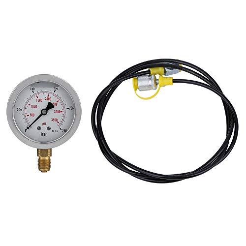 Hydraulisches Manometer-Set, Hydraulik-Druckprüfer M16 x 2-BSP1/4 + 0~250BAR/3600PSI1,5 m Schlauch, Hydraulikschlauch, Prüfpunkt-Kupplung