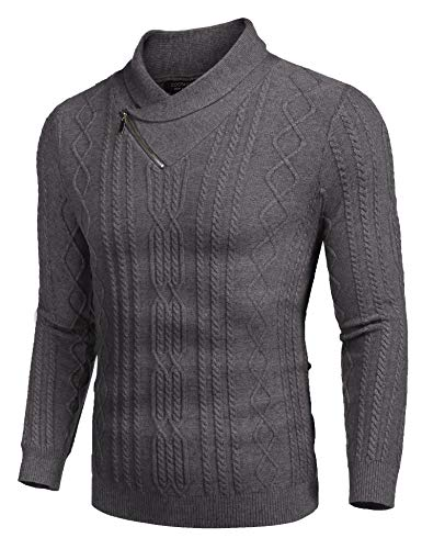 COOFANDY Men's Shawl Collar Sweater Slim Fit Casual Cotton Zip Pullover Cable Knitted Sweaters Gray