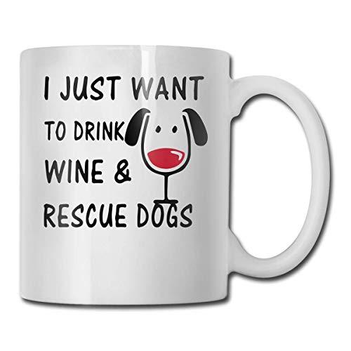 Dat is wat ik drink en weet ik dingen koffie mok, 11 Oz koffiemok, grappige koffiemok thee beker, novelty verjaardagscadeau ideeën voor mannen vrouwen Eén maat Ik wil gewoon wijn drinken en honden redden