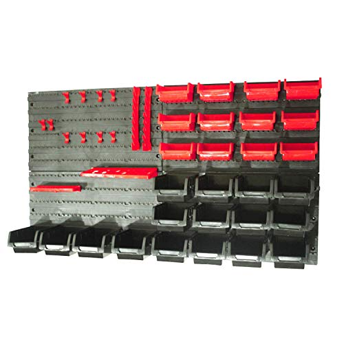 KCT 46 Pcs Wall Mount Tool Rack Organiser Garage DIY Bin Storage Panel Shelves