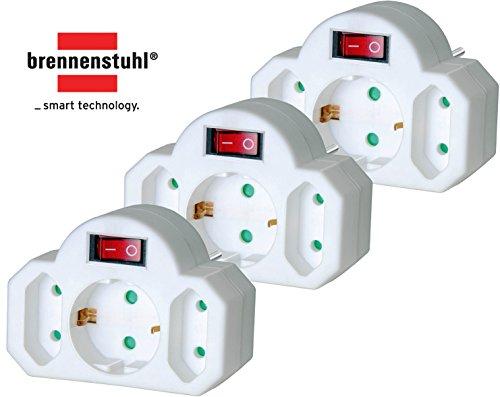 3 Stück Brennenstuhl Mehrfachsteckdose, Steckdosenadapter 3-fach mit Schalter zum Stromsparen (2 x Eurosteckdose & 1 x Schutzkontakt) Farbe: weiß