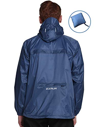 EZRUN Men's Waterproof Hooded Rain Jacket Windbreaker Lightweight Packable Raincoat(Navy,M)