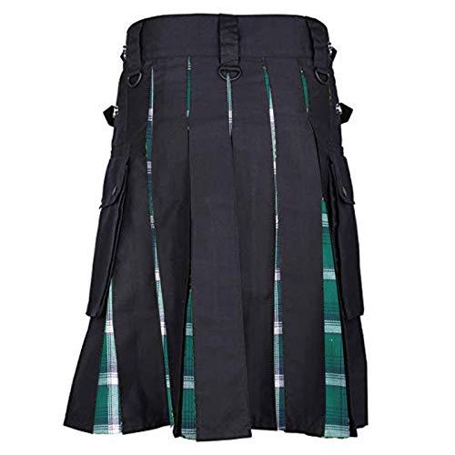 Falda gtica Escocesa Vintage para Hombre, Faldas de Bolsillo Kendo a la Moda, Disfraz de Cosplay para Hombre, Ropa Escocesa Medieval L Verde
