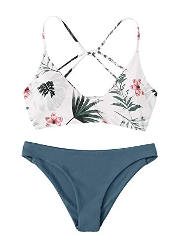 SweatyRocks Women's Sexy Bathing Suit Floral Print Criss Cross Back Bikini Set Swimsuits White-1 M