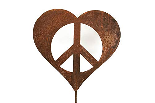 Metal Heart-Shaped Peace Sign Garden Stake Small