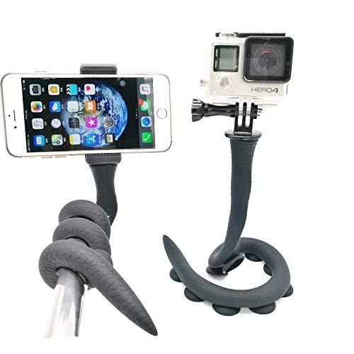 Flexibler Smartphone-Selfie-Stick - Lazy Snake Phone Pod - Kamerastativ - Saugnapf Pad für Gopro, SJCAM Action-Kameras, kleine Kamera, Handys - überall montieren