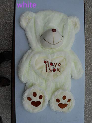 CLINGE Teddy Bear Skin 50-110cm Semi-Finished White I Love You Teddy Bear Skin Plush Toy Doll Shell Crust DIY Girlfriend Gift with Heart-white-70cm