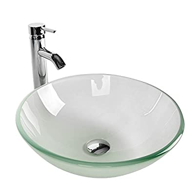 Tempered Glass Vessel Bathroom Vanity Sink Round Bowl with Chrome Faucet Pop-up Drain Combo(Frosted)