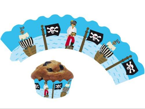 DH-Konzept 12 Piraten / Kinderpiraten - Cupcake Deko Banderolen Muffinförmchen Muffin Förmchen Kindergeburtstag Geburtstag Pirat Party Kuchen
