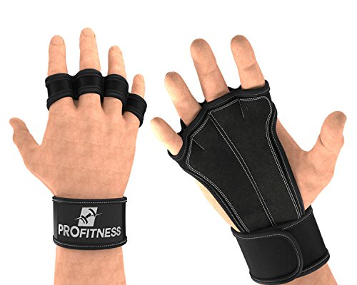 ProFitness Leather Padding Cross Training Gloves with Wrist Support...