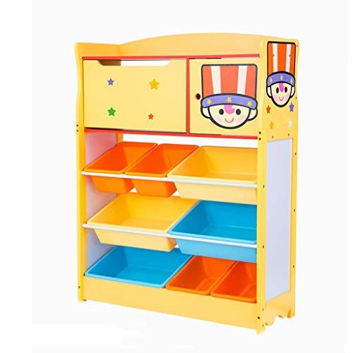 Meubles Support à Jouets pour Enfants bibliothèque pour bébé jardinière surdimensionnée casiers pour garçons et Filles étagère en Bois Massif (Color : Yellow, Size : 83cm*34cm*119cm)
