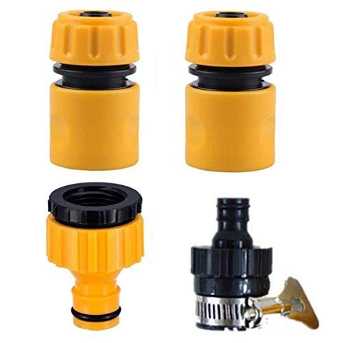 Juego básico de Ajuste de Manguera,Kit de Conector de Grifo de Manguera para riego,Lavado de Autos, Lavadora(Conector rápido de Tubo de 1/2'+ Adaptador de Grifo) -4/Naranja
