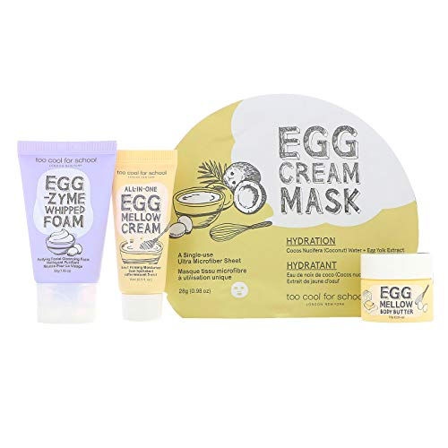 [Too Cool for School] Egg-ssential Skincare Mini Travel Size Set [Includes: Egg-zymn Whipped Foam + Egg Mellow Cream + Egg Mellow Body Butter + Egg Cream Mask Hydration]