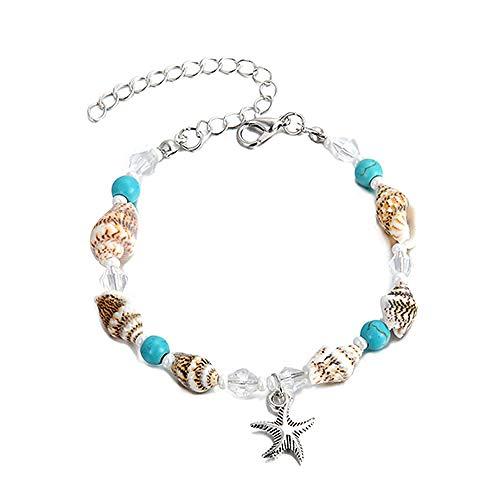 U/N Shell Conch Starfish Anklet Woman Beach Anklet Handmade Feet Bracelet Bohemian Ankle Bracelet Sandals Gift