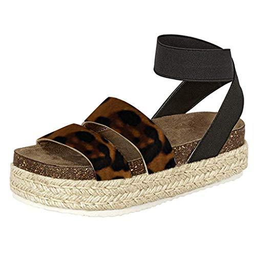 Womens Luipaard Sandalen, Open teen platte gesp enkel riem sandalen, mode dames zomer casual dikke bodem Romeinse schoenen