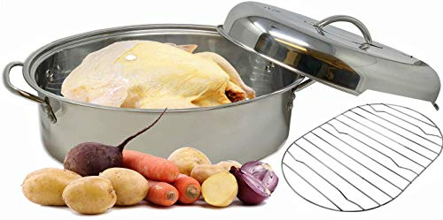 Stainless Steel Roaster Pan With Lid & Wire Rack   Multi-Purpose Oven Safe High Dome   Roasts Chicken Vegetables