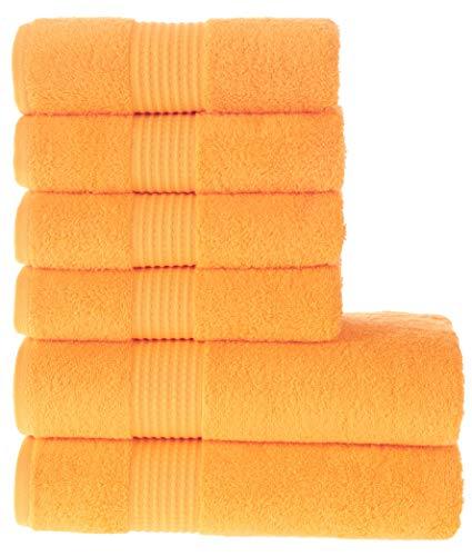 MAURA HOME Luxus Badetüch Set 100% Baumwolle. Hotel & Spa Qualität. 2 große Badetücher 70x140, 4 große Handtücher 50x100. Schnell trocknende Frottiertücher. Weich, plüschig und stark saugfähig.