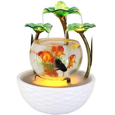 Weichuang Fish Tank Tabletop Wasser-Eigenschaft Green Lotus Rolling Ball Brunnen Wasserfall Cascade Indoor Dekoration Aquarium Luftbefeuchter Mist Aquarium Aquarium