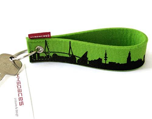 Keychain feltro Hamburg Skyline, Chiave band lavorata in molti colori diversi da 44spaces verde