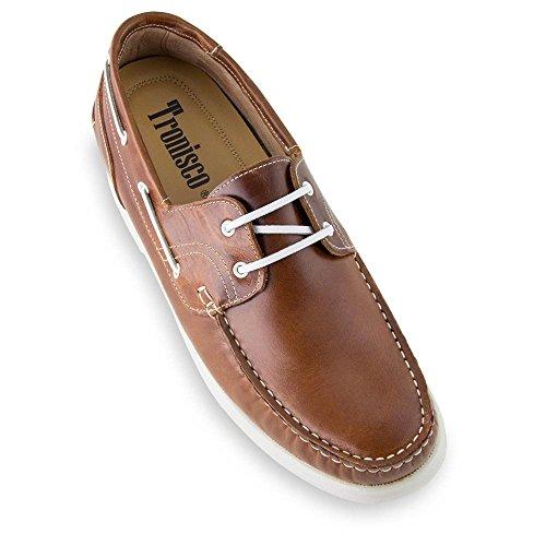 Masaltos Chaussures Réhaussantes Pour Homme avec Semelle Augmentant la Taille Jusqu'À 7cm. Fabriquées en Peau. Modèle Portonovo Marron 42