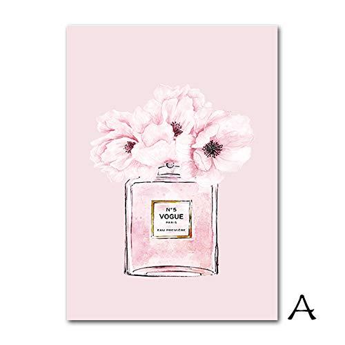 HHBACE-Plakat Parfüm Flasche Poster Mode Wandkunst Aquarell Leinwand Malerei Zitate Kunstdrucke Blume Wandbilder Für Wohnzimmer 50X70 cm Ungerahmt A