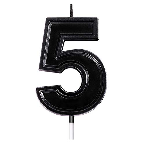 2.76 Inches Large Birthday Cake Number Candle,Black Fashion Numeral Topper Decoration for Wedding Anniversary, Shower, Kids and Adults Party Celebration Photograph Beautiful Moments. (Number 5)