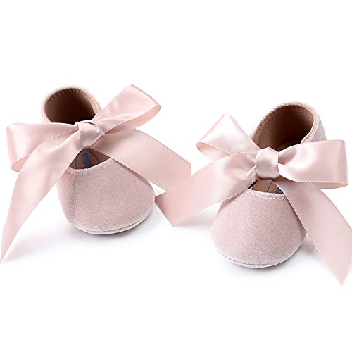 Baby Girls Mary Jane Flats Anti-Slip Rubber Sole Bow Toddler Princess Dress Shoes (4.33 inches (0-6 Months)  Y-Beige)