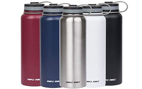 simply simily. Stainless Steel Water Bottle - Wide Mouth - BPA Free - Double Walled Vacuum Insulated, 40 Oz - Silver