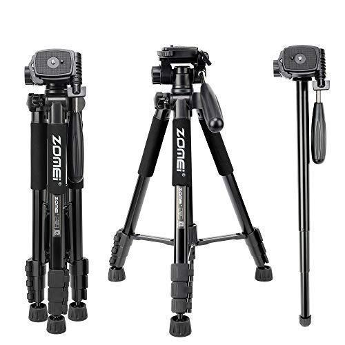 ZOMEi Q222 Kamerastativ Leichtes Aluminium Stativ Einbeinstativ Tragbarer Reisekamerastand mit 3-Wege-Schwenkkopf und Tragetasche kompatibel für Kamera und Smartphone