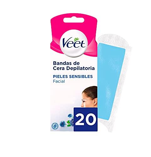 Veet Facial, Bandas de cera Depilatoria Easy Gelwax para Pieles Sensibles, 10 x 2 bandas