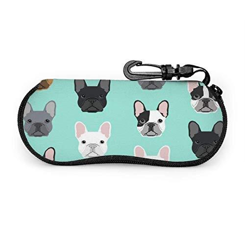 Wthesunshin Franse bulldog, schattige puppen, zonnebril, zacht, ritssluiting, brillenkoker met riemclip
